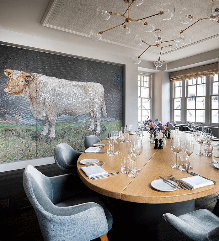 Private dining table in the Bull Room